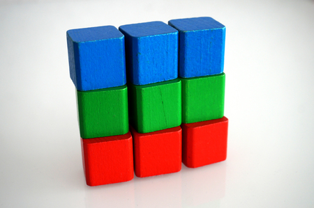 RGB red green blue wooden toy blocks