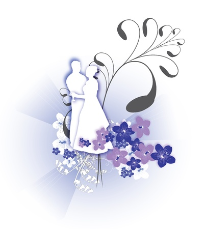 hitched: wedding icon with ornamental flower background