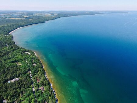 Aerial Drone Photography | Lake Michigan Coast Door County Wisconsin Stock Photo