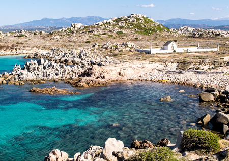 View of the island of Lavezzi in the south of Corsica. The cemetery on the island is fo the victim of a shipwreck.