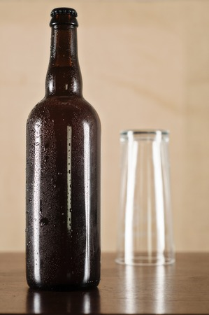 beading: Homebrew with beading on the bottle Stock Photo