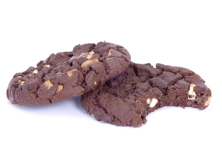 taken: Isolated chocolate cookeis with bite taken out Stock Photo