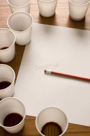 uninspired: Coffee cups and paper Stock Photo