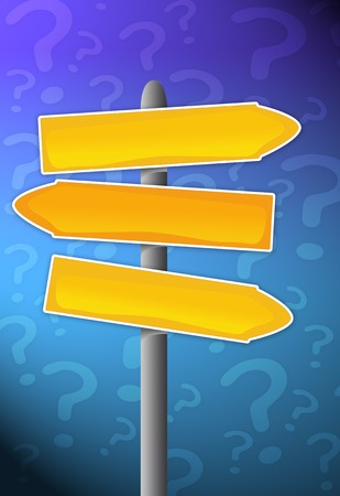 Empty signpost with question mark background