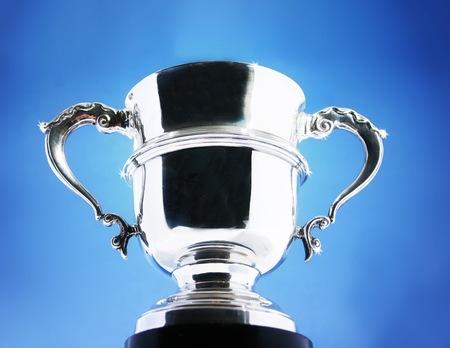 real trophy: Trophy on blue background
