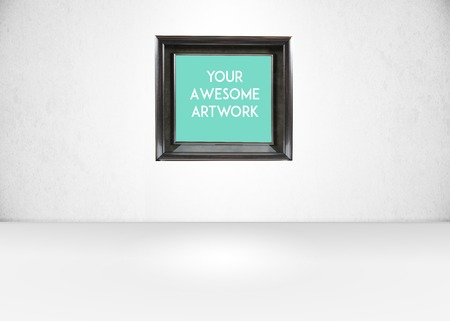 photography backdrop: Empty Exhibition style room with a sigle frame Stock Photo