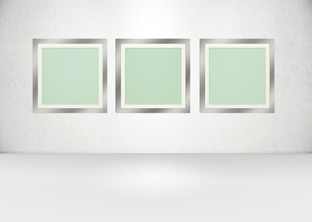 photography backdrop: Light version, 3 frames in an exhibition stlye room. Stock Photo