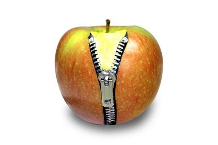 cintas metricas: Apple con cremallera Foto de archivo