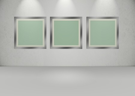 photography backdrop: 3 Frames in an empty room, exhibition style lighting. Stock Photo