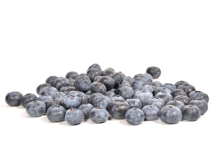 Blueberry pile isolated on white, blue berry pile with copy space