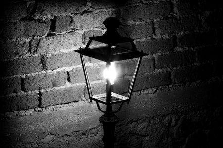 recluse: standard lamp black & white Stock Photo