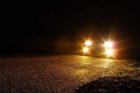 headlights: visibility under the rain Stock Photo