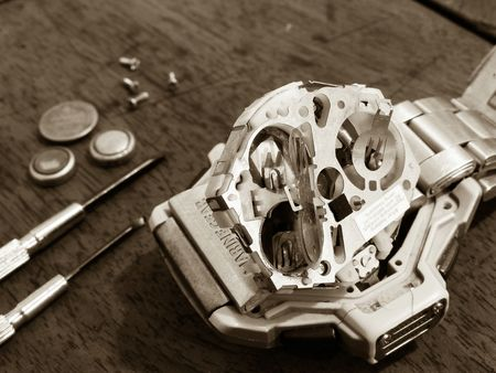 maintains: repair a watch Stock Photo