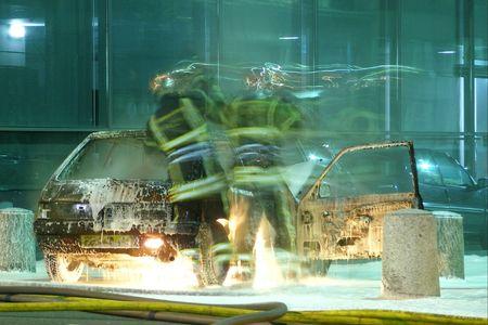 pyromaniac: fireman Stock Photo