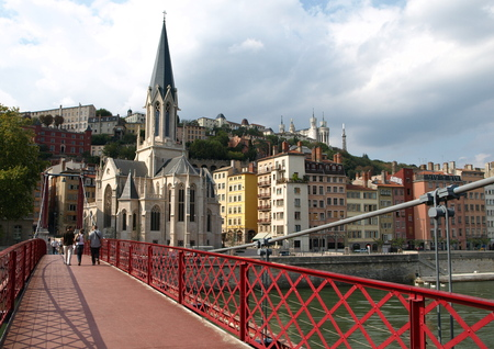 georges: st georges cath�dral and bridge at lyon in france