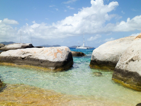Among the rocks on the coast of the British Virgin Islands, Caribbean pearls