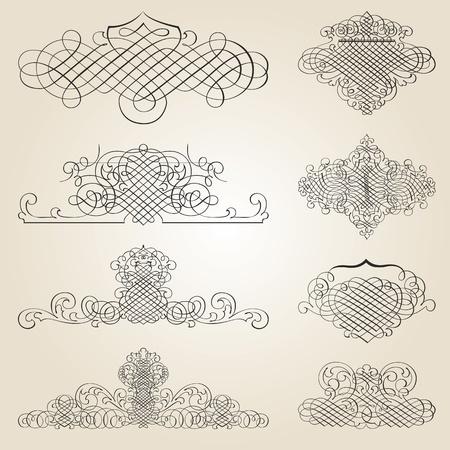 calligraphie arabe: ensemble de vecteurs: éléments de conception et de la décoration calligraphiques page - beaucoup d'éléments utiles pour embellir votre mise en page Illustration