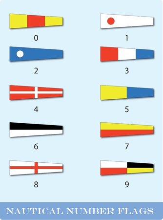 nautical flag with number series from 0 to 9 Vector