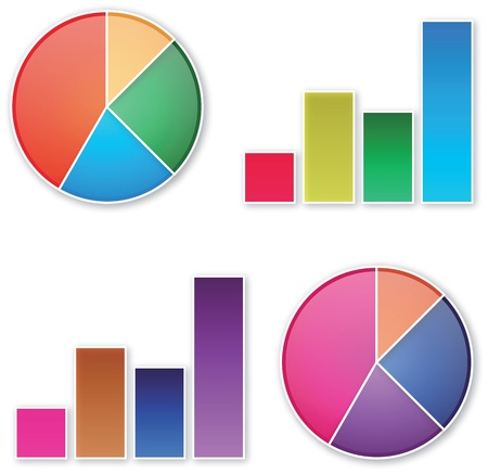 pie and bar business chart in vector