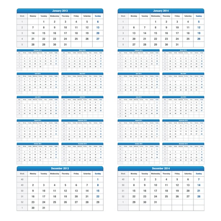 Carefully designed calendar for 2013 and 2014 Stock Vector - 13388360