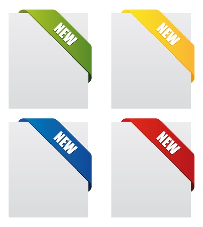 four different colours corner ribbon fully editable