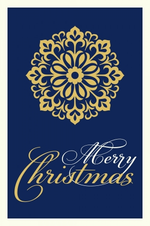 elegant blue and gold christmas card Vector