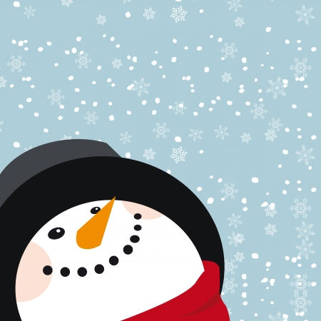 vector snowman see snow from sky Stock Vector - 15311917