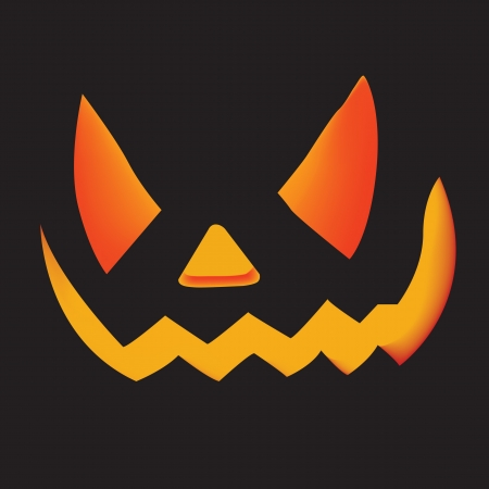 carved pumpkin Jacko Lantern on black background