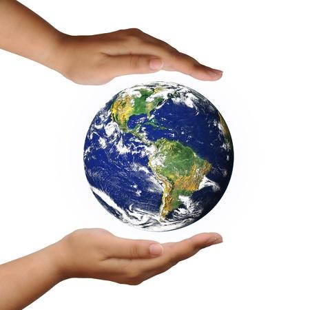 mundo manos: proteger el planeta mundo en cambio