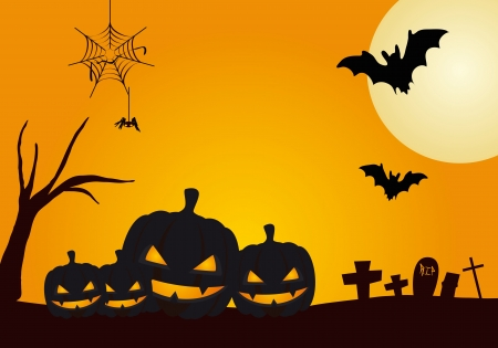 halloween pumpkins on night background with moon, bat and spider Vector