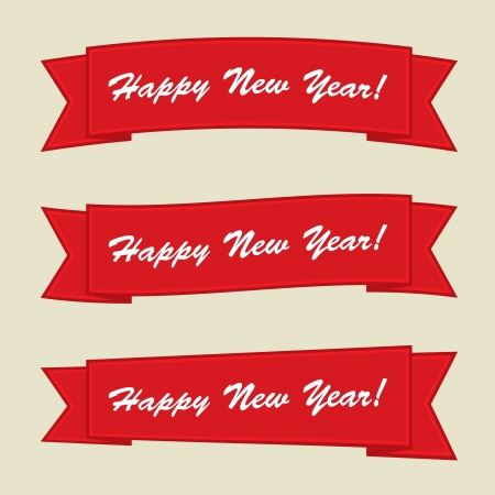 happy new year text on red banner Stock Vector - 16478533