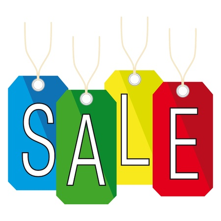 sales floor: four colors sale promotion tags made  Illustration