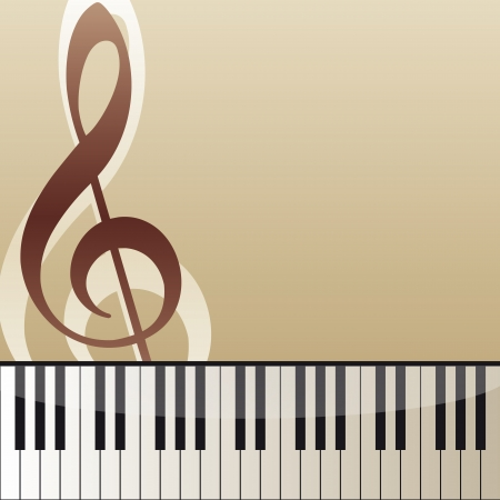 piano closeup: music background with piano keyboard and violin key