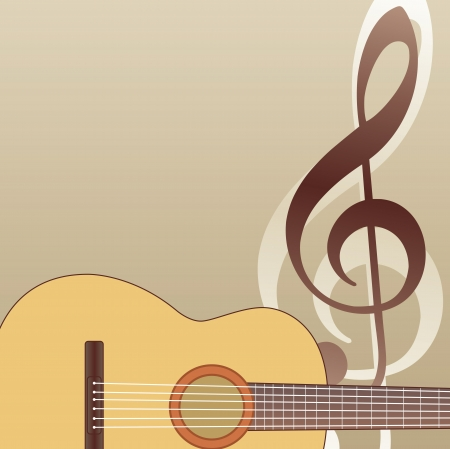 classical guitar: guitar background with guitar and violin g key Illustration
