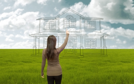 House project design for building in the meadow