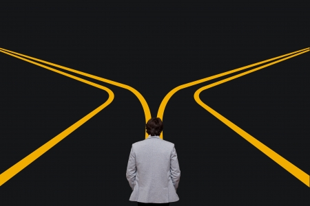 cross roads: decision time for a career with a business man at a cross roads