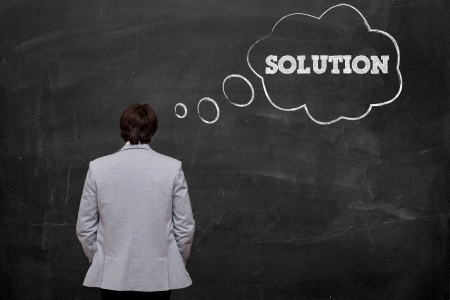 businessman think about solution at chalkboard Stock Photo - 16556627