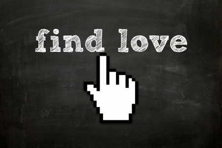 custom made hand cursor clicking  find love  text on blackboard Stock Photo - 16615805