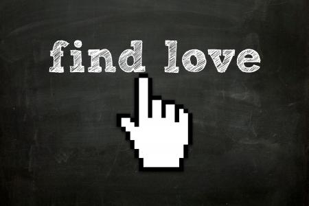 custom made hand cursor clicking  find love  text on blackboard