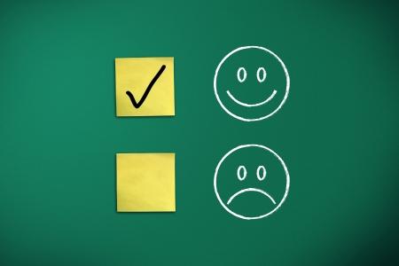 positive feedback rapresentated by emoticons on green chalk board