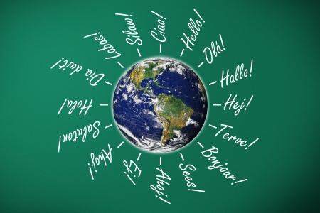 hello on chalk board written in many languages,earth image  Stock Photo