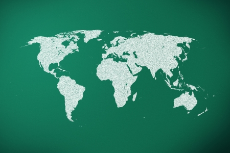 chalk outline: world map on green chalk board, world map