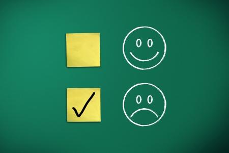 negative feedback rapresentated by emoticons on green chalk board