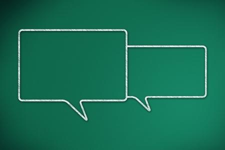 Two speech bubbles on a green chalkboard