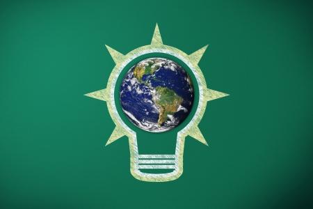 light bulb and earth on blackboard, earth image Stock Photo - 17714694