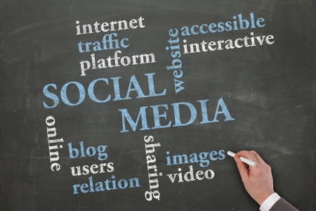 Social media sketched on blackboard by a business man hand Stock Photo - 17714605