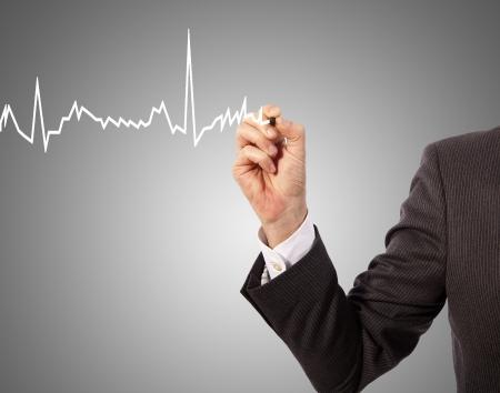 Medicine, hand drawing heart graph