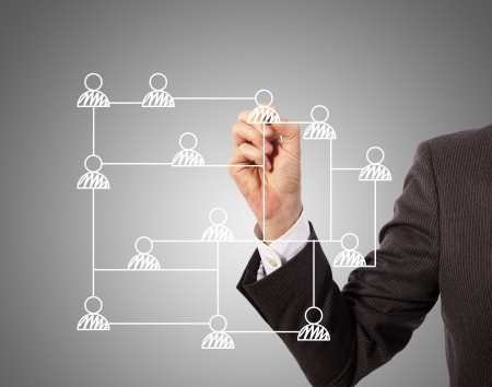 business man drawing social network structure on glass Stock Photo - 17714655