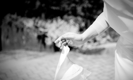 bridal veil: bride with her white dress in the wedding day