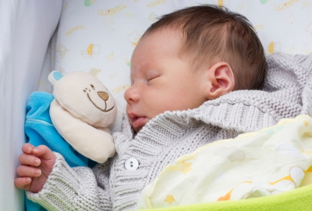 prem: close-up portrait of a beautiful sleeping baby in his cradle